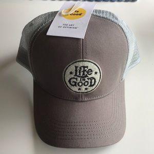 Life is Good grey trucker hat NWT